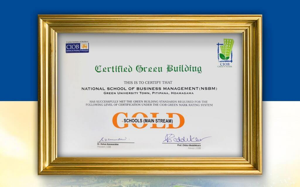 NSBM wins Gold for maintaining Green Building Standards…
