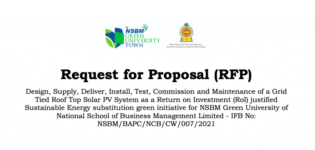 Request for Proposal (RFP) for Grid Tied Roof Top Solar PV System
